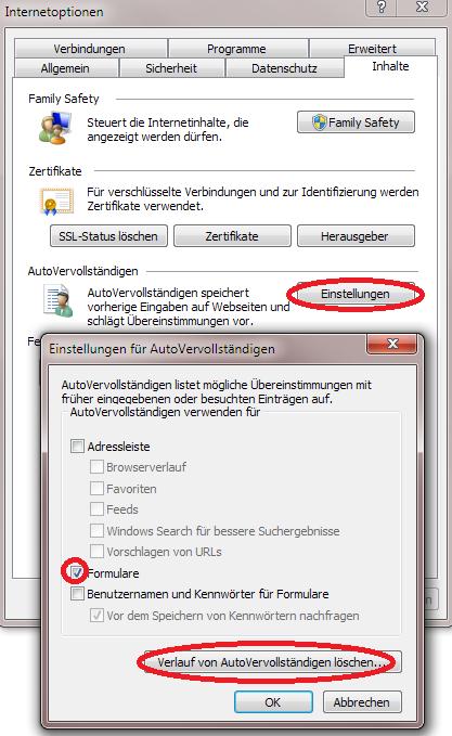 Browsereinstellung Internet Explorer